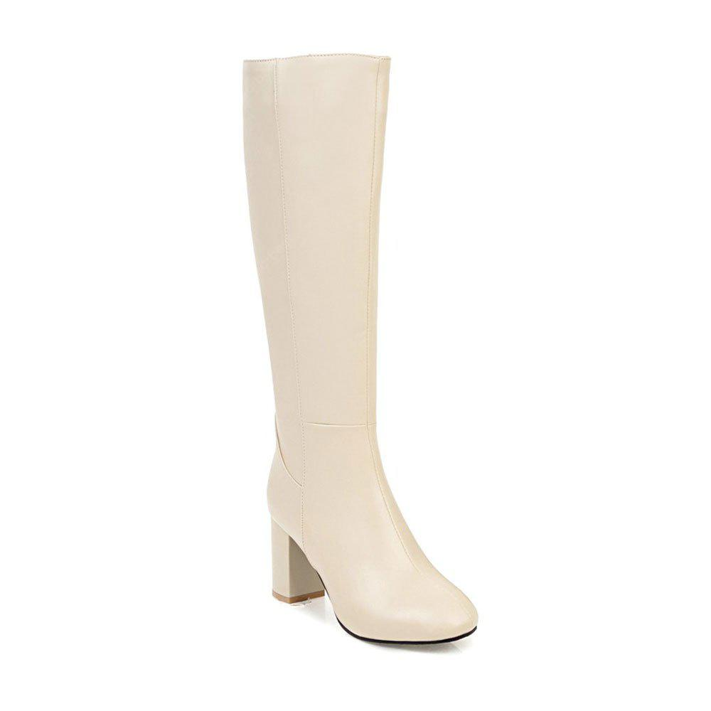 BEIGE 39 Simple Fashionable European Style Female Boots