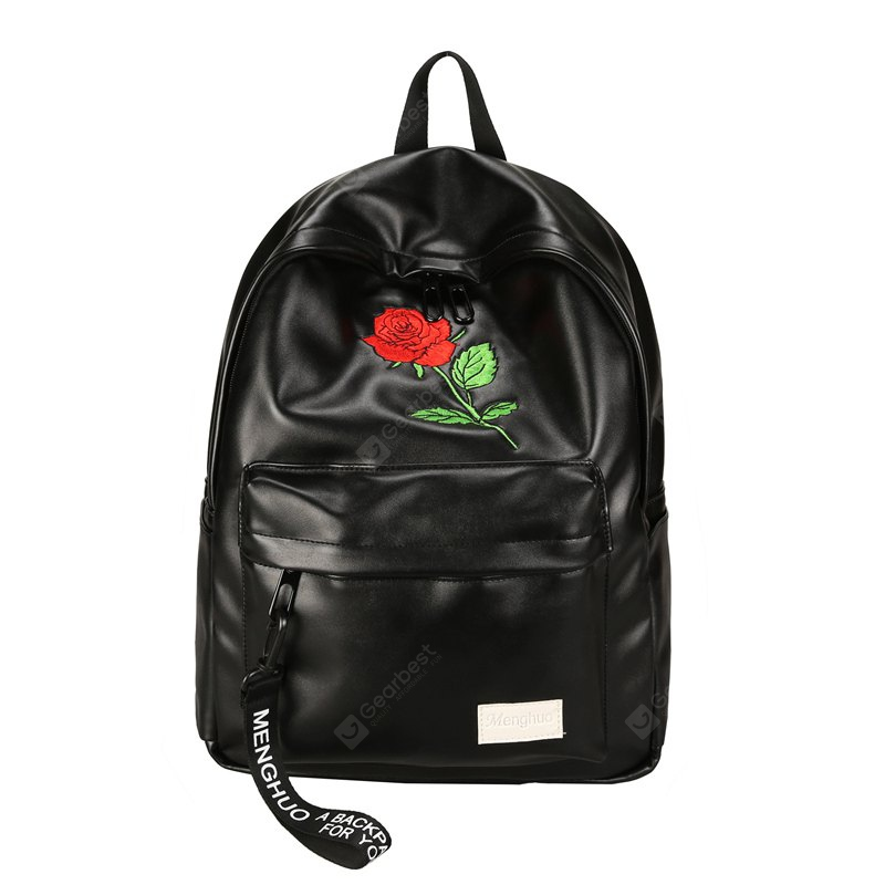 BLACK MENGHUO Rose Embroidery All Match Fashion Backpack Schoolbag for Women