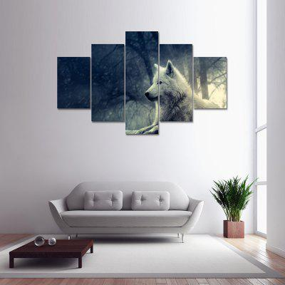 Modern Sitting Wolf Moon Canvas Home Decoration Print 5PCS