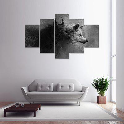 5 Panel Gray Wolf Canvas Print Painting Home Decoration Wall Art Picture