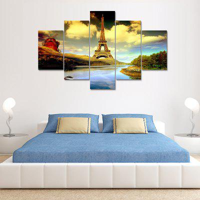 5 Panel Building Scenery Canvas Print Painting Home Decoration Wall Art Picture