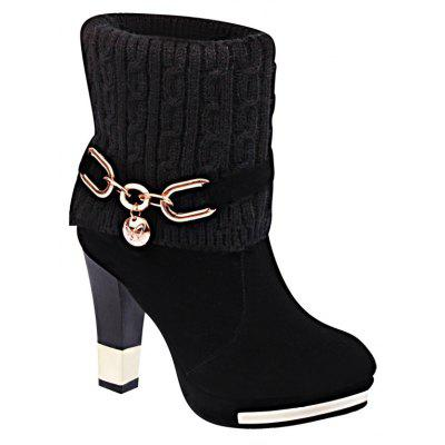 HSL-W-98 Round Sets Foot Boca Lã Frosted All-match Thick Heeled Fashion Feminino Martin Botas