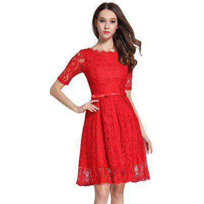 Buy RED XL Autumn Five Points Sleeves Long Lace Dress for $33.87 in GearBest store