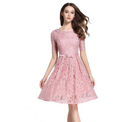 Buy PINK M Autumn Five Points Sleeves Long Lace Dress for $33.87 in GearBest store