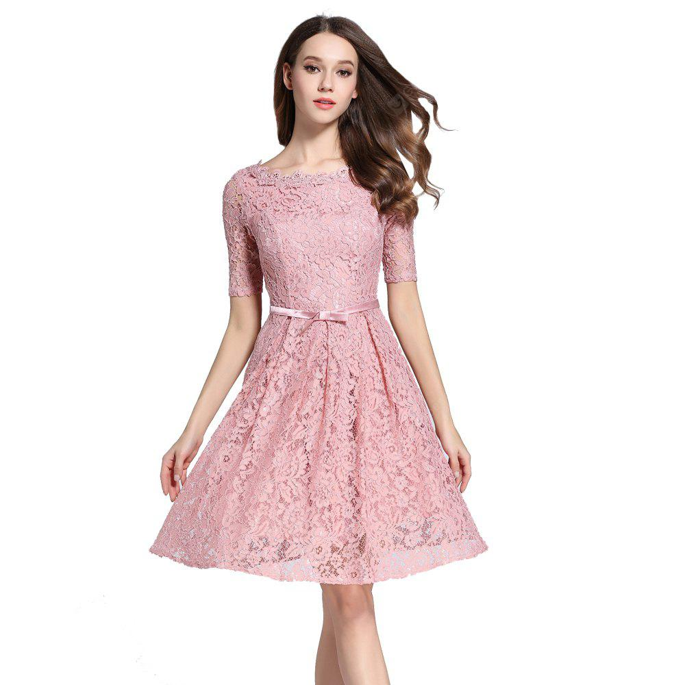 PINK L Autumn Five Points Sleeves Long Lace Dress