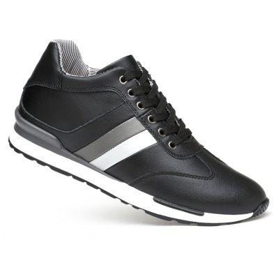 Height Increasing Men Genuine Leather High Quality Soft Business Casual Breathable Flats BLACK