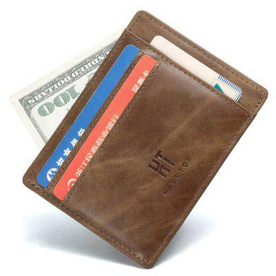 Gearbest Hautton Genuine Leather Wallet Slim Thin Minimalist Pocket Wallets Card Holder  -  KHAKI