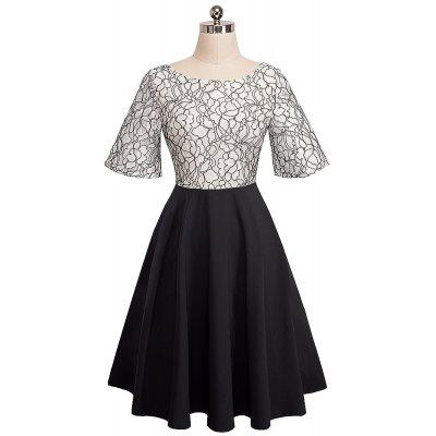 Elegant Embroidery Lace Sexy Back V See Through Sleeve Women Casual Formal  A-Line Work Vestidos  Swing DressWomens Dresses<br>Elegant Embroidery Lace Sexy Back V See Through Sleeve Women Casual Formal  A-Line Work Vestidos  Swing Dress<br><br>Dresses Length: Knee-Length<br>Elasticity: Elastic<br>Embellishment: Embroidery<br>Fabric Type: Broadcloth<br>Material: Cotton Blend<br>Neckline: V-Neck<br>Package Contents: 1?Dress<br>Pattern Type: Patchwork<br>Season: Fall<br>Silhouette: A-Line<br>Sleeve Length: Half Sleeves<br>Sleeve Type: Flare Sleeve<br>Style: Casual<br>Waist: Natural<br>Weight: 0.4000kg<br>With Belt: No