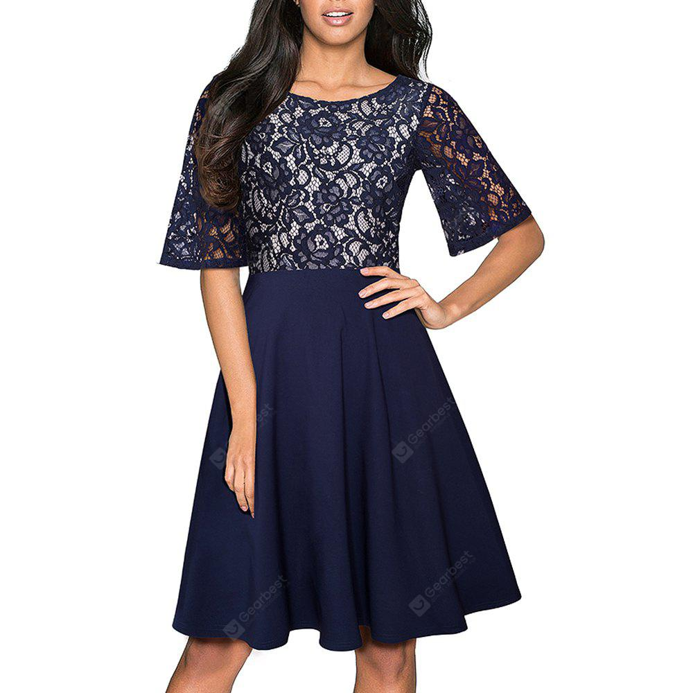Elegant Embroidery Lace Sexy Back V See Through Sleeve Women Casual Formal  A-Line Work Vestidos  Swing Dress