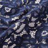 Elegant Embroidery Lace Sexy Back V See Through Sleeve Women Casual Formal  A-Line Work Vestidos  Swing Dress - DEEP BLUE