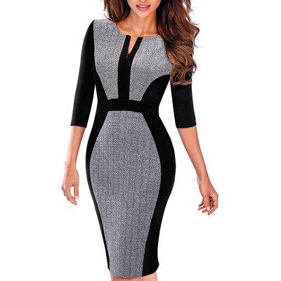 Buy GRAY S Women Retro Contrast Patchwork Wear to Work Business Vestidos Office Bodycon Zipper Sheath Female Dress for $28.91 in GearBest store