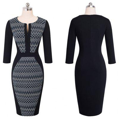 Women Retro Contrast Patchwork Wear to Work Business Vestidos Office Bodycon Zipper Sheath Female DressBodycon Dresses<br>Women Retro Contrast Patchwork Wear to Work Business Vestidos Office Bodycon Zipper Sheath Female Dress<br><br>Dresses Length: Knee-Length<br>Elasticity: Micro-elastic<br>Fabric Type: Broadcloth<br>Material: Cotton Blend<br>Neckline: Round Collar<br>Package Contents: 1?Dress<br>Pattern Type: Geometric<br>Season: Fall<br>Silhouette: Sheath<br>Sleeve Length: 3/4 Length Sleeves<br>Style: Work<br>Waist: Natural<br>Weight: 0.3800kg<br>With Belt: No