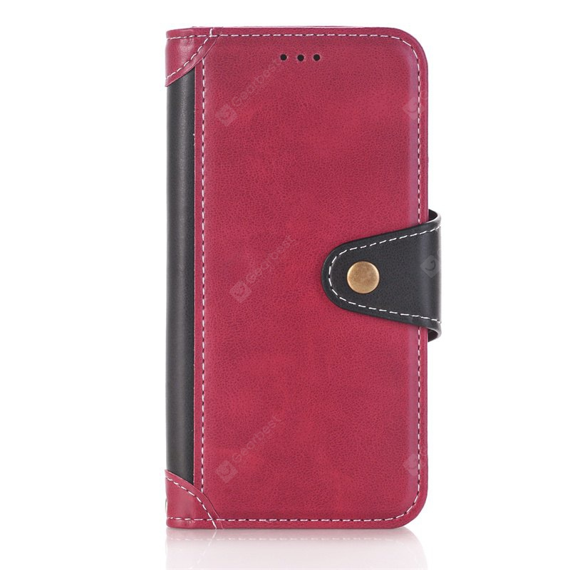 RED + BLACK Stitching Colours Card Lanyard Pu Leather Cover for Samsung Galaxy S6