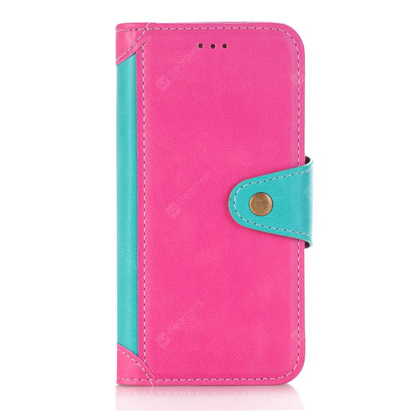 ROSE RED + BLUE Stitching Colours Card Lanyard Pu Leather Cover for Samsung Galaxy S6