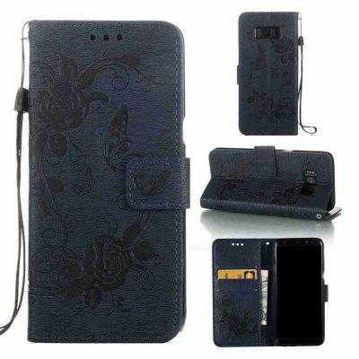 Embossed - Butterfly Flower caso do telefone PU para Samsung Galaxy S8