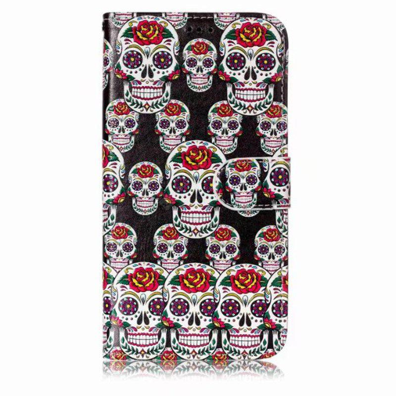 Wkae Glossy Embossed Leather Case Cover for Samsung Galaxy J7 2017