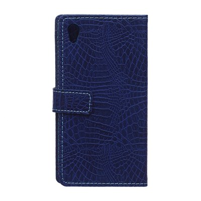 Buy KaZiNe Crocodile Texture Wallet Stand Leather Cover for SONY Z4 BLUE for $3.91 in GearBest store