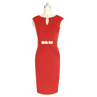 Womens Wear Metal Buckle Decorative Sleeveless Self-Cultivation DressWomens Dresses<br>Womens Wear Metal Buckle Decorative Sleeveless Self-Cultivation Dress<br><br>Dresses Length: Mini<br>Elasticity: Micro-elastic<br>Embellishment: Sequined<br>Fabric Type: Broadcloth<br>Material: Cotton Blend<br>Neckline: V-Neck<br>Package Contents: 1xDress<br>Pattern Type: Solid<br>Season: Summer<br>Silhouette: Sheath<br>Sleeve Length: Sleeveless<br>Style: Fashion<br>Weight: 0.2500kg<br>With Belt: No