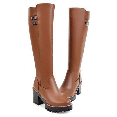 New Style Full Zipper Fashion Ladies Comfort and Knee BootsWomens Boots<br>New Style Full Zipper Fashion Ladies Comfort and Knee Boots<br><br>Boot Height: Knee-High<br>Boot Tube Height: 38<br>Boot Type: Motorcycle Boots<br>Closure Type: Zip<br>Embellishment: Metal<br>Gender: For Women<br>Heel Height: 8<br>Heel Height Range: High(3-3.99)<br>Heel Type: Chunky Heel<br>Outsole Material: Rubber<br>Package Contents: 1 x Shoes?pair?<br>Pattern Type: Solid<br>Platform Height: 2.5<br>Season: Spring/Fall, Winter<br>Toe Shape: Round Toe<br>Upper Material: PU<br>Weight: 1.2320kg