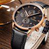 Cadisen 9201 Fashion Men Multifunction Leather Band Quartz Watch - BLACK AND GOLDEN