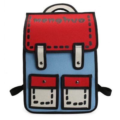Buy MENGHUO 3D Contrasting Colors Simple Cartoon Style Fashion Backpack School Bag for Teen Girls BLUE for $33.68 in GearBest store