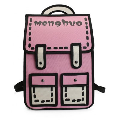 Buy MENGHUO 3D Contrasting Colors Simple Cartoon Style Fashion Backpack School Bag for Teen Girls PINK for $23.36 in GearBest store