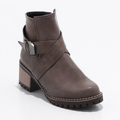 Women S Shoes Leatherette Fall Winter Round Toe Chunky Heel Booties Ankle Boots Buckle Zipper