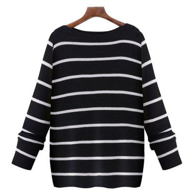 Simple Style Black and White Striped Collar Sweater