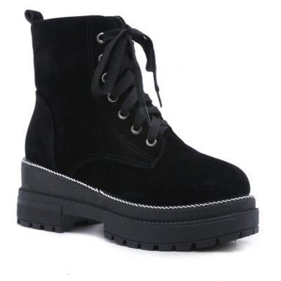 Buy BLACK 35 Winter New Style Suede Velvet Lace Up Flat Fashion Casual British Martin Boots for $36.56 in GearBest store