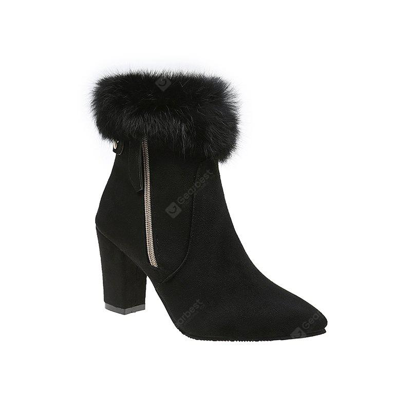 QZJR-009Short Boots Fashion Warm Fluffy Pointed Coarse High Heeled Women'S Shoes