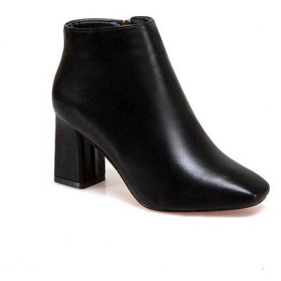 JDL-189Europe Square Thick Heeled Shoes Retro Side Zipper Martin Boots