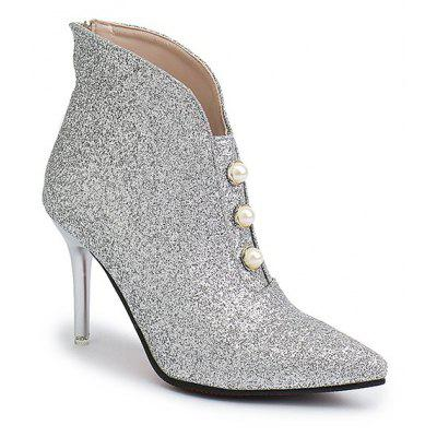 HH-S808 Crystal Sequins High Heels Rear Zipper Martin Boots