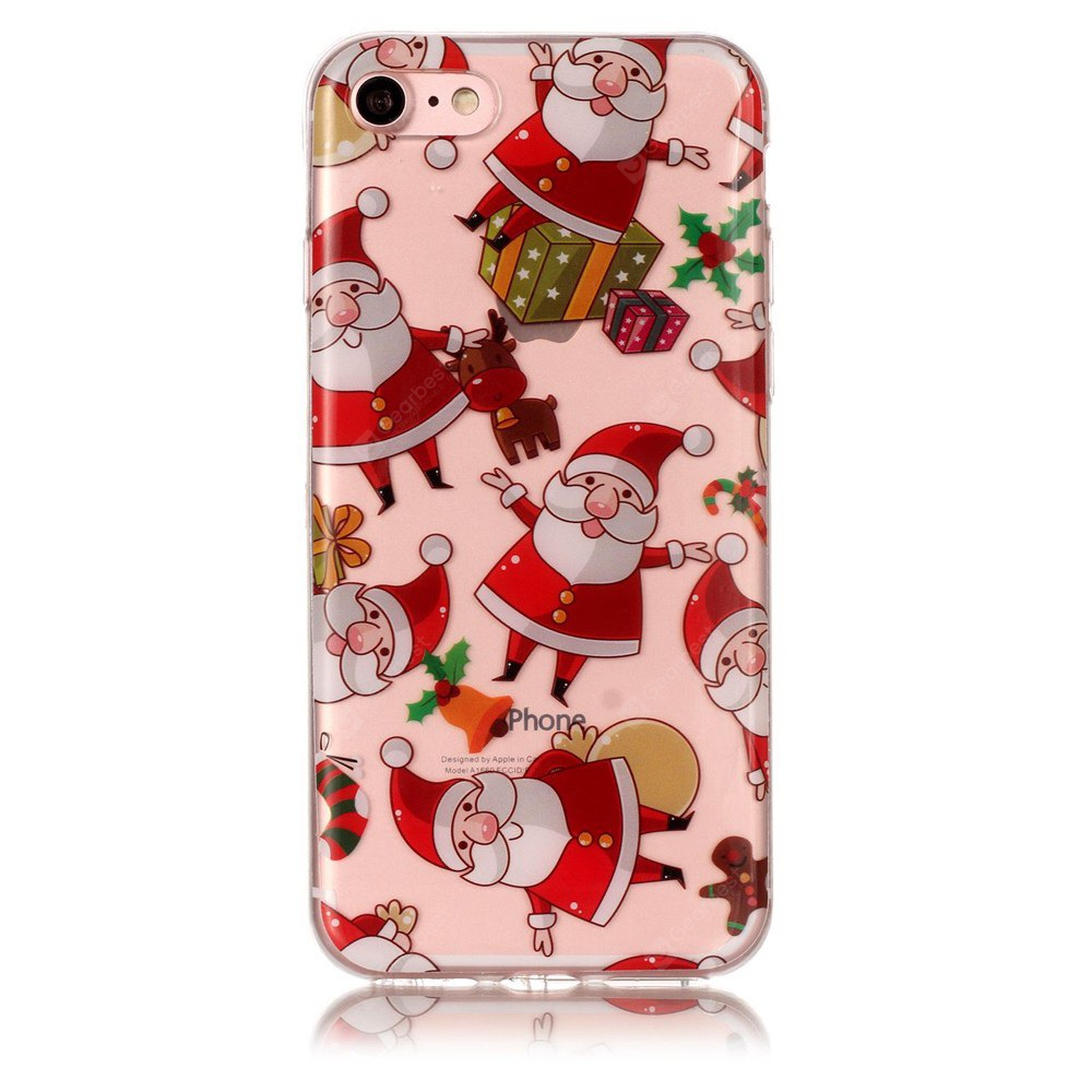 Natal Papai Noel Padrão Transparente Soft TPU Case para iPhone 7/8