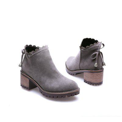 Frosted Casual Bow Tie Bow Student Short BootsWomens Boots<br>Frosted Casual Bow Tie Bow Student Short Boots<br><br>Boot Height: Ankle<br>Boot Tube Circumference: 25<br>Boot Tube Height: 9.5<br>Boot Type: Fashion Boots<br>Closure Type: Zip<br>Embellishment: Bow<br>Gender: For Women<br>Heel Height: 6<br>Heel Height Range: Med(1.75-2.75)<br>Heel Type: Chunky Heel<br>Insole Material: PU<br>Lining Material: Cotton Fabric<br>Outsole Material: Rubber<br>Package Contents: 1xShoes(pair)<br>Pattern Type: Solid<br>Season: Spring/Fall, Winter<br>Shoe Width: Medium(B/M)<br>Toe Shape: Round Toe<br>Upper Material: Microfiber<br>Weight: 0.8300kg