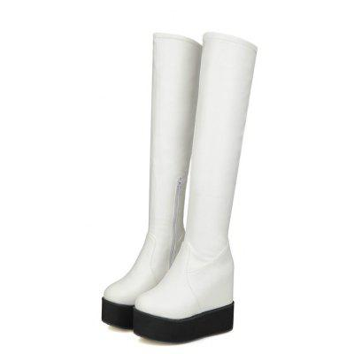 Muffin Thick Bottom Increased Student Stovepipe Boots SQM#710Womens Boots<br>Muffin Thick Bottom Increased Student Stovepipe Boots SQM#710<br><br>Boot Height: Over-the-Knee<br>Boot Tube Circumference: 33<br>Boot Tube Height: 52<br>Boot Type: Fashion Boots<br>Closure Type: Zip<br>Gender: For Women<br>Heel Height: 9<br>Heel Height Range: High(3-3.99)<br>Heel Type: Wedge Heel<br>Insole Material: PU<br>Lining Material: Cotton Fabric<br>Outsole Material: TPR<br>Package Contents: 1xShoes?pair?<br>Pattern Type: Solid<br>Platform Height: 3.5<br>Season: Winter, Spring/Fall<br>Shoe Width: Medium(B/M)<br>Toe Shape: Round Toe<br>Upper Material: PU<br>Weight: 0.9800kg