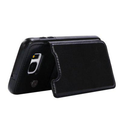 Buy BLACK Case for Samsung Galaxy S7 Edge Card Holder with Stand Back Cover Solid Color Hard PU Leather for $6.24 in GearBest store