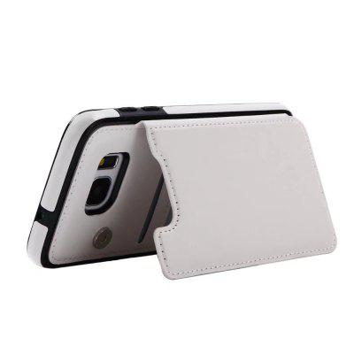 Buy WHITE Case for Samsung Galaxy S7 Edge Card Holder with Stand Back Cover Solid Color Hard PU Leather for $6.24 in GearBest store