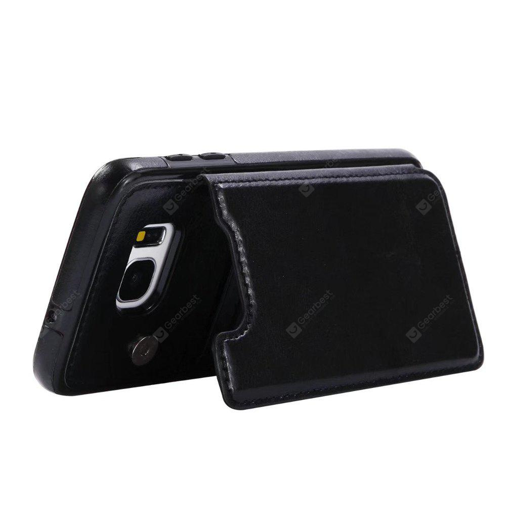 BLACK Case for Samsung Galaxy S7 Edge Card Holder with Stand Back Cover Solid Color Hard PU Leather