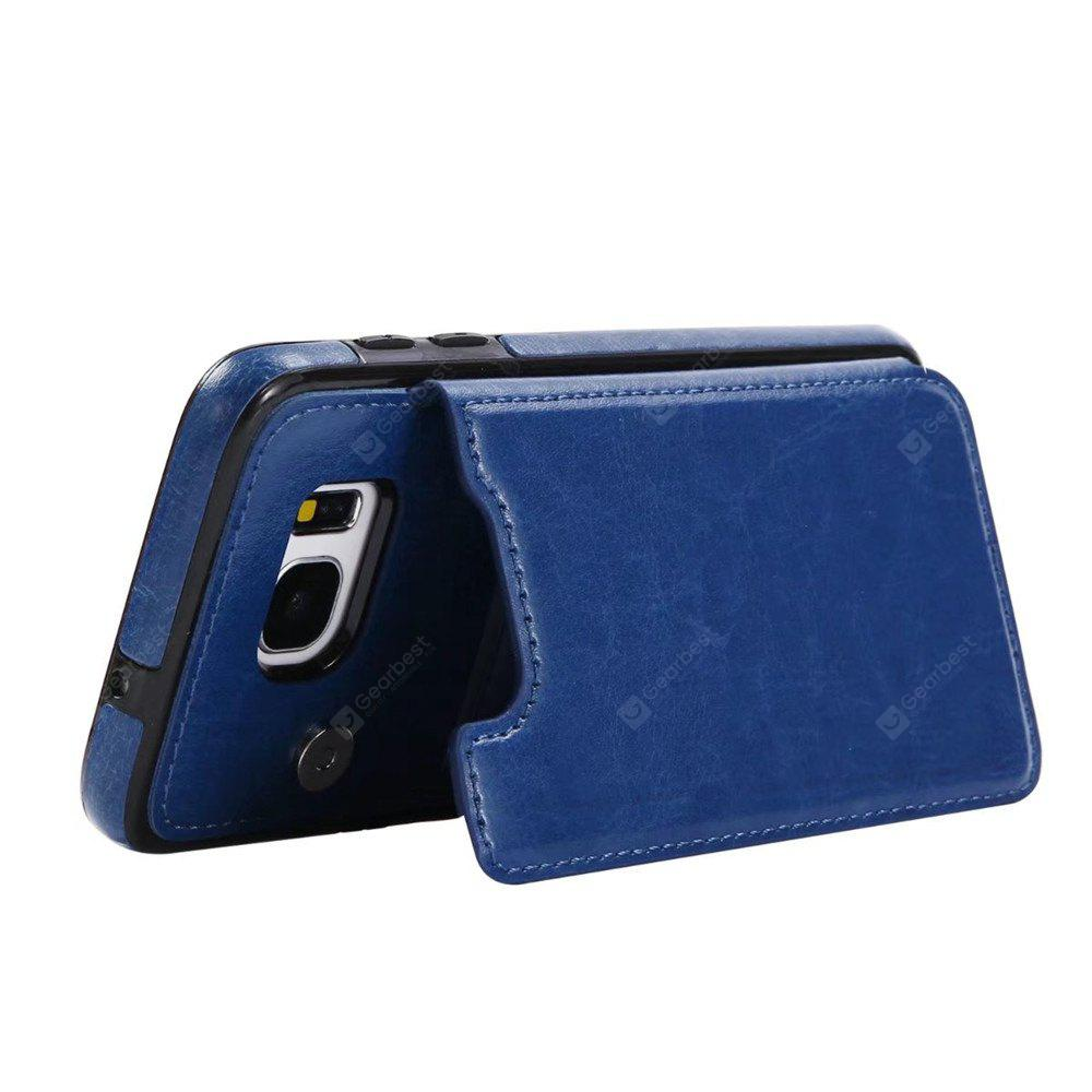 DEEP BLUE Case for Samsung Galaxy S7 Edge Card Holder with Stand Back Cover Solid Color Hard PU Leather