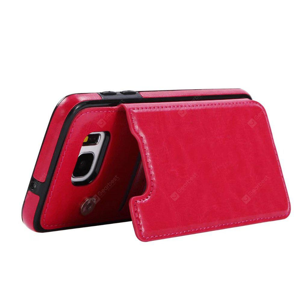 ROSE RED Case for Samsung Galaxy S7 Edge Card Holder with Stand Back Cover Solid Color Hard PU Leather