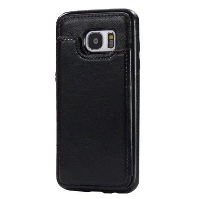 Buy BLACK Case for Samsung Galaxy S7 Card Holder with Stand Back Cover Solid Color Hard PU Leather for $6.14 in GearBest store
