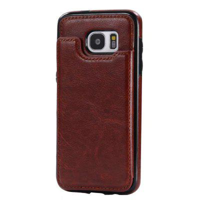 Buy BROWN Case for Samsung Galaxy S7 Card Holder with Stand Back Cover Solid Color Hard PU Leather for $6.14 in GearBest store