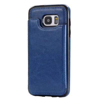 Buy DEEP BLUE Case for Samsung Galaxy S7 Card Holder with Stand Back Cover Solid Color Hard PU Leather for $6.14 in GearBest store