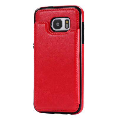 Buy RED Case for Samsung Galaxy S7 Card Holder with Stand Back Cover Solid Color Hard PU Leather for $6.14 in GearBest store