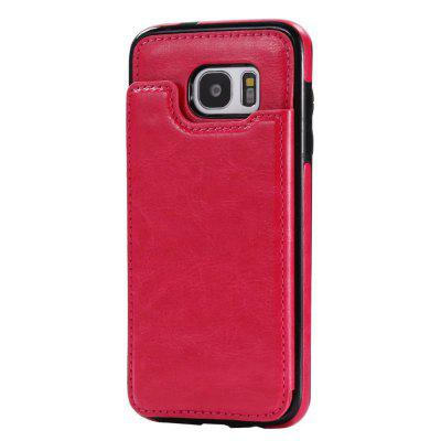 Buy ROSE RED Case for Samsung Galaxy S7 Card Holder with Stand Back Cover Solid Color Hard PU Leather for $6.14 in GearBest store