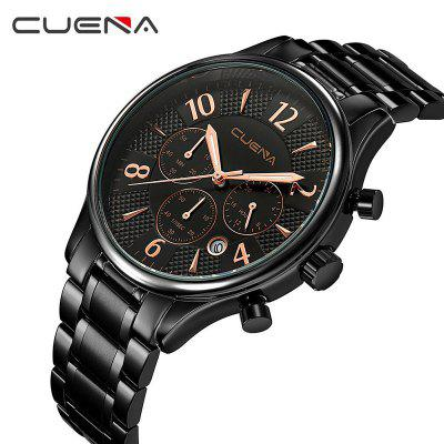 CUENA 6919 Men Steel Band Multifunctional Quartz Waterproof WatchMens Watches<br>CUENA 6919 Men Steel Band Multifunctional Quartz Waterproof Watch<br><br>Band material: Stainless Steel<br>Band size: 24 x 2cm<br>Brand: CUENA<br>Case material: Alloy<br>Clasp type: Folding clasp with safety<br>Dial size: 4.25 x 4.25 x 1.1cm<br>Display type: Analog<br>Movement type: Quartz watch<br>Package Contents: 1 x Watch, 1 x Watch Box<br>Package size (L x W x H): 16.00 x 8.00 x 3.00 cm / 6.3 x 3.15 x 1.18 inches<br>Package weight: 0.1750 kg<br>Product size (L x W x H): 24.00 x 4.25 x 1.10 cm / 9.45 x 1.67 x 0.43 inches<br>Product weight: 0.1200 kg<br>Shape of the dial: Round<br>Special features: Working sub-dial, Stopwatch, Light, Day, IP plating<br>Watch mirror: Mineral glass<br>Watch style: Casual, Fashion, Trends in outdoor sports, Cool<br>Watches categories: Men<br>Water resistance: 30 meters