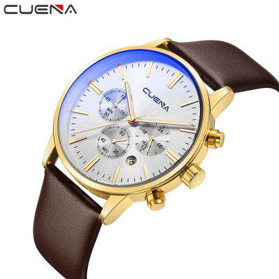 CUENA 6813 Genuine Leather Band Men Multifunction Quartz Watch with Alloy CaseMens Watches<br>CUENA 6813 Genuine Leather Band Men Multifunction Quartz Watch with Alloy Case<br><br>Band material: Genuine Leather<br>Band size: 25.5 x 2.2cm<br>Brand: CUENA<br>Case material: Alloy<br>Clasp type: Pin buckle<br>Dial size: 4.3 x 4.3 x 1.05cm<br>Display type: Analog<br>Movement type: Quartz watch<br>Package Contents: 1 x Watch, 1 x Watch Box<br>Package size (L x W x H): 16.00 x 8.00 x 3.00 cm / 6.3 x 3.15 x 1.18 inches<br>Package weight: 0.1100 kg<br>Product size (L x W x H): 25.50 x 4.30 x 1.05 cm / 10.04 x 1.69 x 0.41 inches<br>Product weight: 0.0550 kg<br>Shape of the dial: Round<br>Special features: Working sub-dial, Stopwatch, Luminous, Light, IP plating, Day<br>Watch mirror: Mineral glass<br>Watch style: Casual, Cool, Fashion, Trends in outdoor sports<br>Watches categories: Male table,Men
