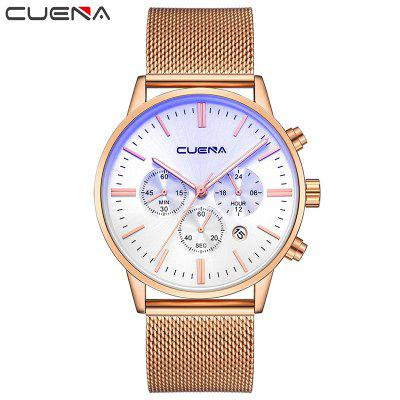 CUENA 6813G Men Multifunctional Alloy Case Quartz Watch with Stainless Steel BandMens Watches<br>CUENA 6813G Men Multifunctional Alloy Case Quartz Watch with Stainless Steel Band<br><br>Band material: Stainless Steel<br>Band size: 25 x 2.2cm<br>Brand: CUENA<br>Case material: Alloy<br>Clasp type: Hidden clasp<br>Dial size: 4.3 x 4.3 x 1.05cm<br>Display type: Analog<br>Movement type: Quartz watch<br>Package Contents: 1 x Box, 1 x Watch<br>Package size (L x W x H): 16.00 x 8.00 x 3.00 cm / 6.3 x 3.15 x 1.18 inches<br>Package weight: 0.1420 kg<br>Product size (L x W x H): 25.00 x 4.30 x 1.05 cm / 9.84 x 1.69 x 0.41 inches<br>Product weight: 0.0870 kg<br>Shape of the dial: Round<br>Special features: Working sub-dial, Stopwatch, Luminous, Light, IP plating, Day<br>Watch mirror: Mineral glass<br>Watch style: Casual, Trends in outdoor sports, Outdoor Sports, Fashion, Cool, Retro<br>Watches categories: Male table,Men