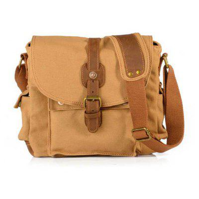 Buy AUGUR Fashion Men Shoulder Bag Canvas Leather Belt Vintage Military Male Small Messenger Casual Travel Crossbody Bags KHAKI for $24.87 in GearBest store