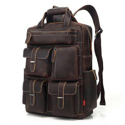 AUGUR Men Backpack Retro couro genuíno Multi Pocket Waterproof Traveling Large Capacity Bag